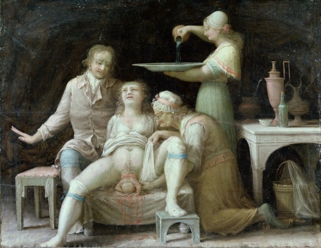 Accouchement vers 1800 - Peinture française anonyme.jpg - WIKIMEDIA COMMONS